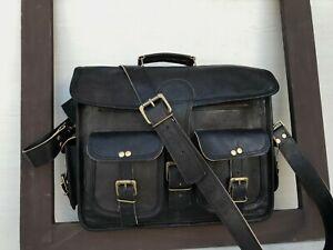 """15"""" Black Leather Messenger Satchel Holds Files Laptop Bag"""