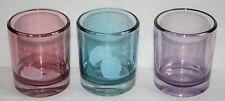 3x  Coloured-Glass-heavy-tealight-holder