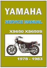 YAMAHA Workshop Manual XS650 XS650S 1978 1979 1980 1981 1982 and 1983 SERVICE