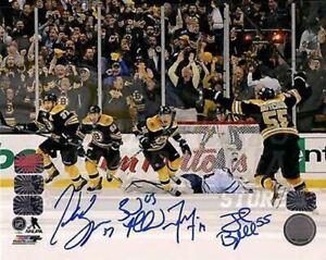Patrice Bergeron Marchand Seguin Boychuk Boston Bruins Signed Comeback 16x20