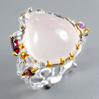 Rose Quartz Ring Silver 925 Sterling Vintage11ct+ Size 9 /R129414