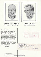1984 THE SPORTING NEWS WITH TOMMY LASORDA & LARRY KING ADVERTISING POSTCARD