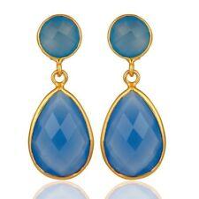 Blue Chalcedony 18K Gold Plated 925 Sterling Silver Dangle Earrings Jewelry