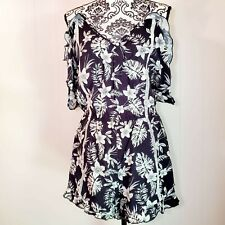 Lush Women's Black and White Floral Summer Fall Romper  Size M