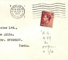 Jj3 Gb Keviii Perfin Cover 1937 *Ag/&Co/L* Identified London {samwells-covers}