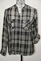 Style&co. Women's Petite Oslo Black Plaid Shirt Size Medium