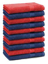 Betz 10 Toallas de cara 30x30cm PREMIUM 100% algodón de color azul marino y rojo