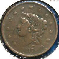 1837 1C Coronet Head Cent, Plain Chord, Medium Letters (57815)
