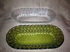 Pair of Indiana Glass Oval Serving Bowls- 1 Green & 1 Clear - Pretzel Pattern