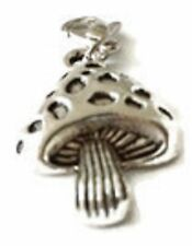 LOVELY LARGE SILVER MUSHROOM  CLIP ON CHARM FOR BRACELETS - SILVER ALLOY - NEW