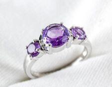 Genuine Purple Amethyst & Diamond Ring 1.10ct in 925 Sterling Silver Size 7