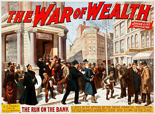 Old Vintage Theatre Poster The War of Wealth - Fade Resistant HD Print or Canvas