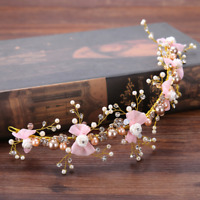 Women White Crystal Rose Flower Pink Bowknot Wedding Bridal Hair Band Accessory