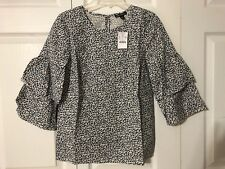a0acf476be5 NWT J Crew Tiered Bell Sleeves Top Blouse Size 0 Navy Ellis Ditsy Blue  Floral 8