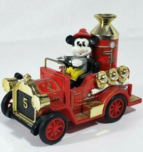Vintage Tin Litho Fire Truck Toy Walt Disney Masudaya Mickey Mouse Lever Action