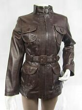 Ladies Brown Napa Leather Zip Slim Tight Fitted Long Biker Jacket Bike