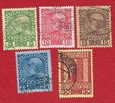 KAISERREICH  (0315 24) ÖSTERREICH KREDA  1908 MI NR 17 - 21  GESTEMPELT
