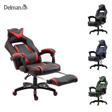 Delman Racing Bürostuhl Gaming Drehstuhl Chefsessel Kunstleder Fußstütze02-0019