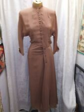 Vintage 1930's 40's Golden Brown Silky Rayon Elegant Cocktail Dress S As Is
