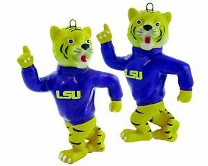 NCAA LSU Fightin Tigers 2-Piece Porcelain Mascot Christmas Ornament Set BOGO