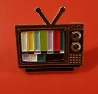 Old School Technicolour Television TV Pin Enamel Metal Brooch Lapel Badge