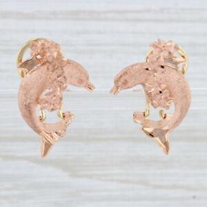New Shimmering Dolphin Jumping Through Flower Hoop Earrings 14k Rose Gold