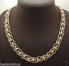 "18"" Love Knot Stationed Interlocked Curb Necklace 14K Yellow White Gold QVC"