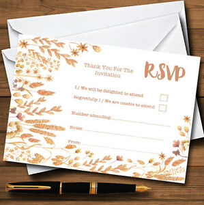 Golden Autumn Leaves Watercolour Personalised RSVP Cards