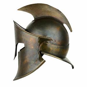 Brass antique medieval armour king Leonidas Greek spartan 300 Spartan helmet Gft