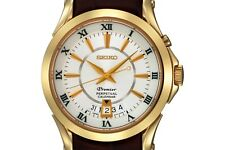 PRE-OWNED $395 Seiko Men's Premier Brown Leather Perpetual Calendar Watch SNQ118