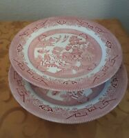 "2 Churchill England ROSA PINK WILLOW 10-3/8"" Dinner Plates"