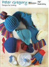 Childrens Hats Scarf & Mittens DK KNITTING PATTERN - Peter Gregory PG 767