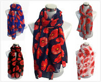 Red Poppy Print Floral Ladies Fashion Scarf Wrap Sarong Long Soft Warm UK