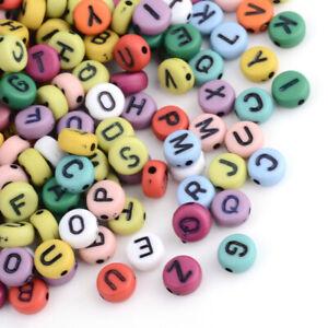 50 Letter Beads Alphabet Beads Matte Bulk Beads Wholesale 7mm Flat Assorted Lot