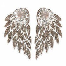 Punk Gothic Women Cool Angel Wings Rhinestone Alloy Drop Stud Earrings Jewelry Antique Silver