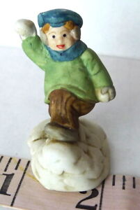 Grandeur Noel Victorian Village Little Boy Throwing Snowball 1993 figurine