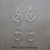 4 sterling silver swirl in circle jewelry link connectors