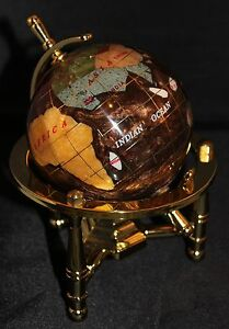 Genuine Multi-Gemstone Desktop Globe Gold Tone Base w/ Brown / Copper Globe