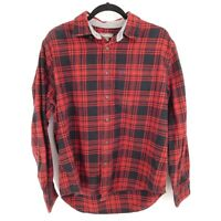 Eddie Bauer Flannel Shirt Mens Size L Red Black Plaid Button Long Sleeve Cotton