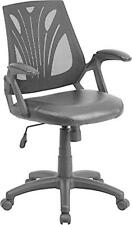 Flash Furniture Mid-Back Black Mesh Chair w/Leather Seat GO-WY-82-LEA-GG Chair
