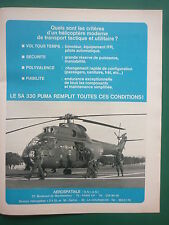 1970 PUB AEROSPATIALE HELICOPTERE PUMA SA 330 ALAT HUBSCHRAUBER HELICOPTER AD