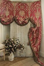 Antique French damask lambrequin valance textile silk passementerie c 1860
