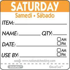 """Roll of 500 SATURDAY 2"""" x 2"""" Removable Trilingual Food Rotation Labels"""