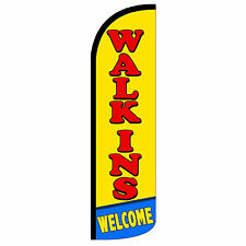 Windless Swooper Feather Flag Tall Banner Sign 3' Wide Walk Ins Welcome Red Yel