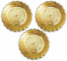 Nakshi Plate Handmade Brass Indian Plate for Puja Pack Of 3