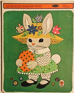 """Vintage 1968 Whitman Easter Bunny Frame Tray Puzzle 11""""x14"""""""