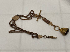 antique chain watch fob signed MS