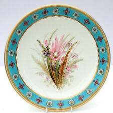 Antique c1889 Royal Worcester Cabinet Plate Hand-Painted Floral Botanical