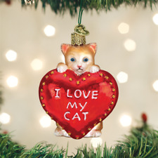 I Love My Cat Heart glass Ornament Old World Christmas NEW IN BOX