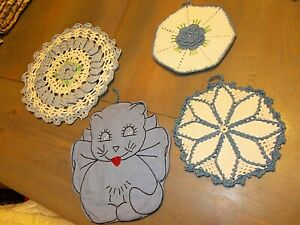 lot 4 vintage blue and white potholders and doily handmade crocheted emb cat
